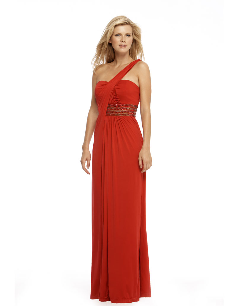 Demure Red One Shoulder Floor Length Sheath Prom Dresses With Beads Waist