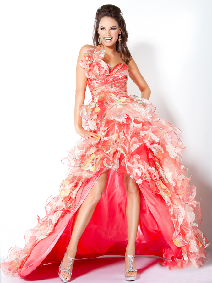 Gorgeous Watermelon Strapless Hi Low A Line Prom Dresses With Vivid Flowers