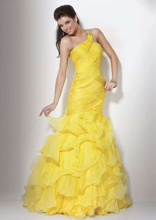 Yellow Mermaid One Shoulder Floor Length Tiered Prom Dresses With Jewel And Ruffles