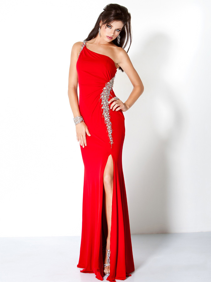 Red One Shoulder Floor Length Sheath Prom Dresses With Sequins And High Slit