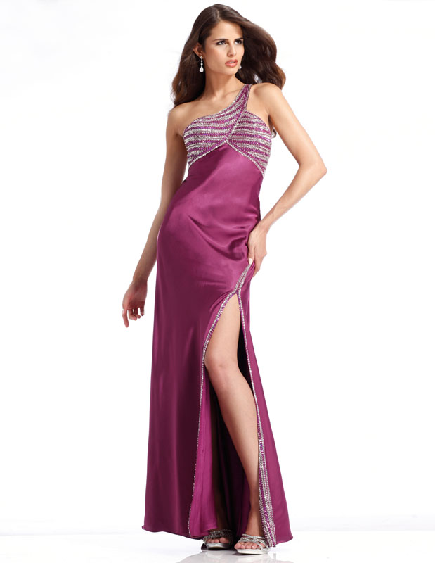 Glamorous Fuchsia One Shoulder Side Slit Ankle Length Sheath Prom Dresses With Sequins