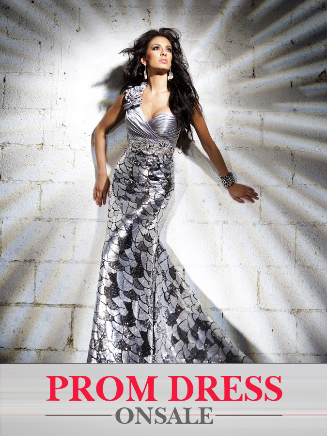 Printed Silver One Shoulder Mermaid Floor Length Prom Dresses With Sequins
