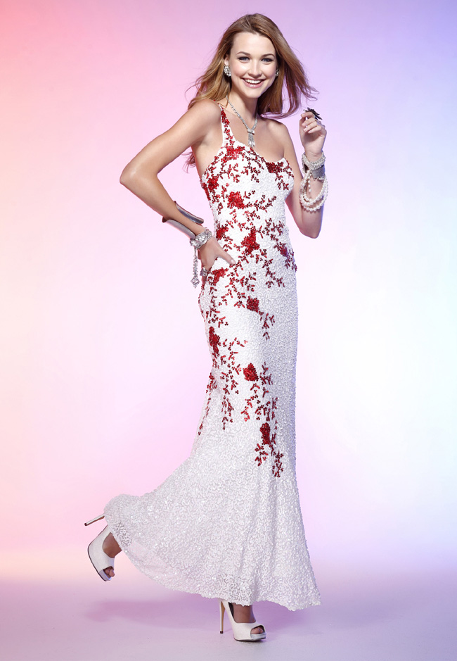 One Shoulder Ivory Ankle Length Sheath Lace Prom Dresses With Red Sequins