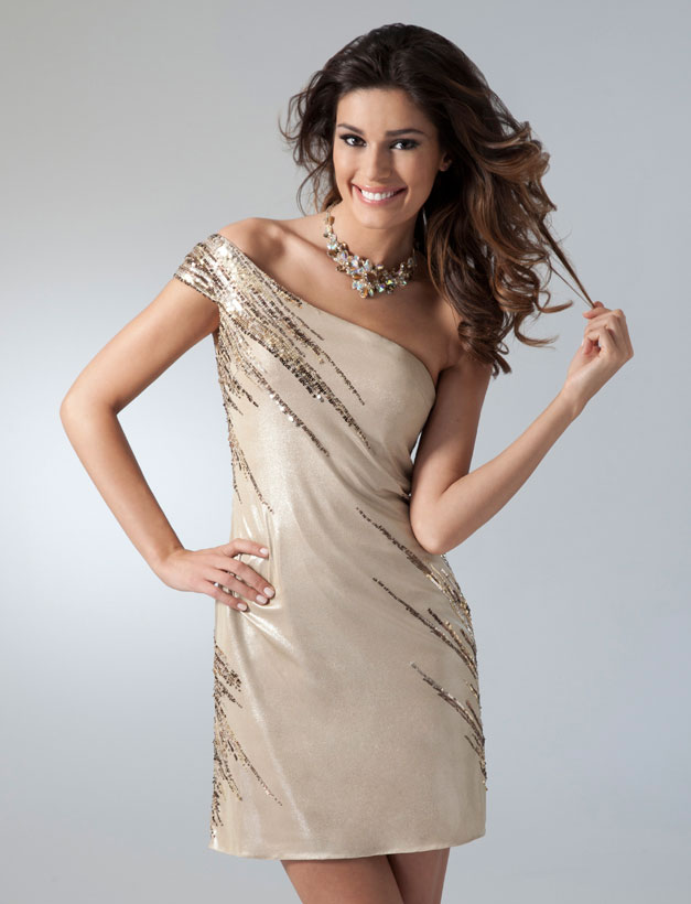 Champagne One Shoulder Knee Length Satin Homecoming Dresses  With Sequins
