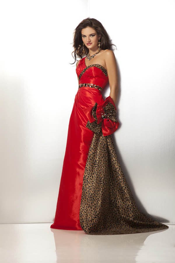 One Shoulder Floor Length Sheath Red And Leopard Print Prom Dresses With Detachable Train