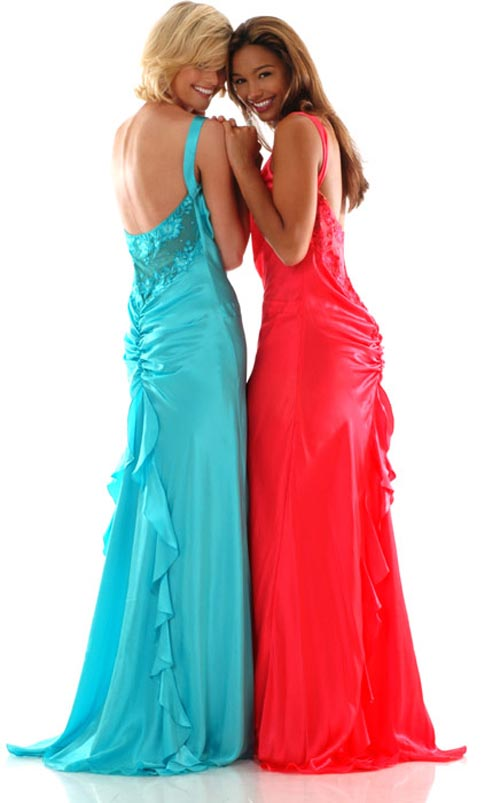 Blue One Shoulder Open Back Sweep Train Full Length Sheath Prom Dresses With Ruches