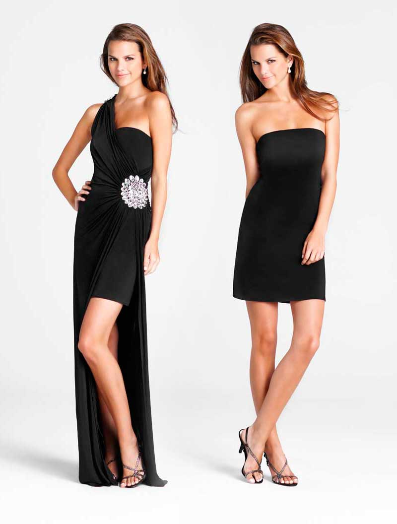 One Shoulder Sexy Black High Low Column Prom Dresses With Jewel