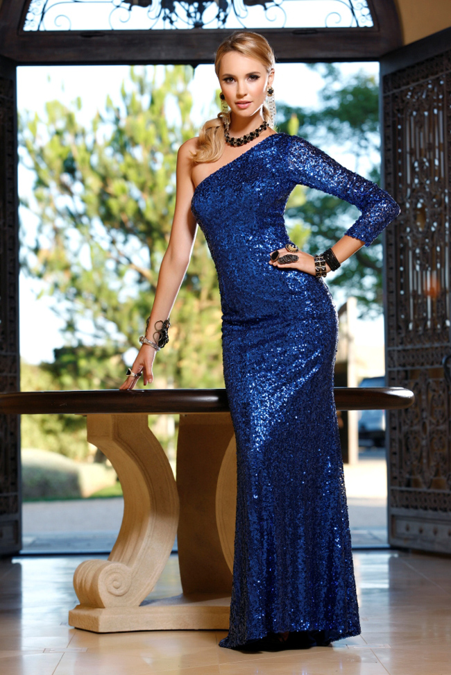 Blue One Shoulder Long Sleeve Sexy Sheath Full Length Sequined Prom Dresses