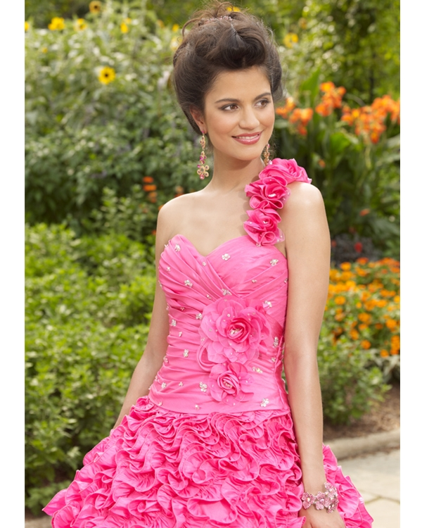 One Shoulder Sweetheart Floor Length Pink Ball Gowns Taffeta Quinceanera Dresses With Flowers And Ruffles