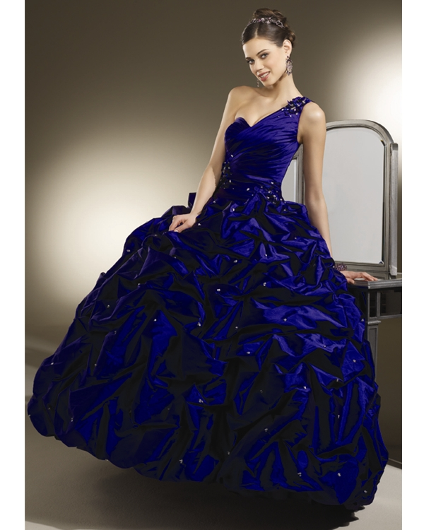 Dark Royal Blue One Shoulder Sweetheart Floor Length Ball Gown Taffeta Quinceanera Dresses With Twist Drapes