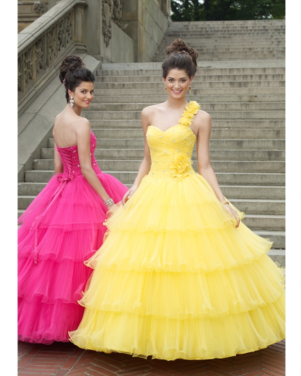 Yellow One Shoulder Sweetheart Ball Gown Floor Length Tiered Tulle Quinceanera Dresses With Flowers
