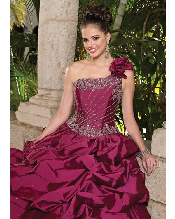 Claret One Shoulder Floor Length Draped Taffeta Quinceanera Dresses With Beadings