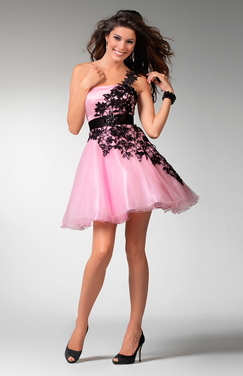 Pink One Shoulder Empire Short Mini Length A Line Tulle Prom Dresses With Black Embellishments