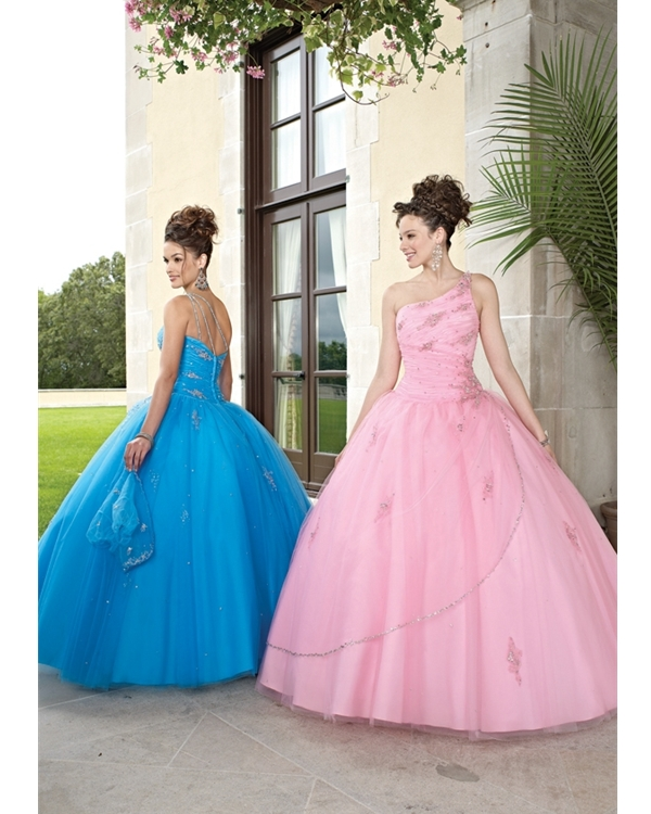 Pink One Shoulder Floor Length Ball Gown Tulle Quinceanera Dresses With Sequins