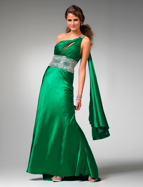 Green One Shoulder Ankle Length Sheath Prom Dresses With Jewel And Strap