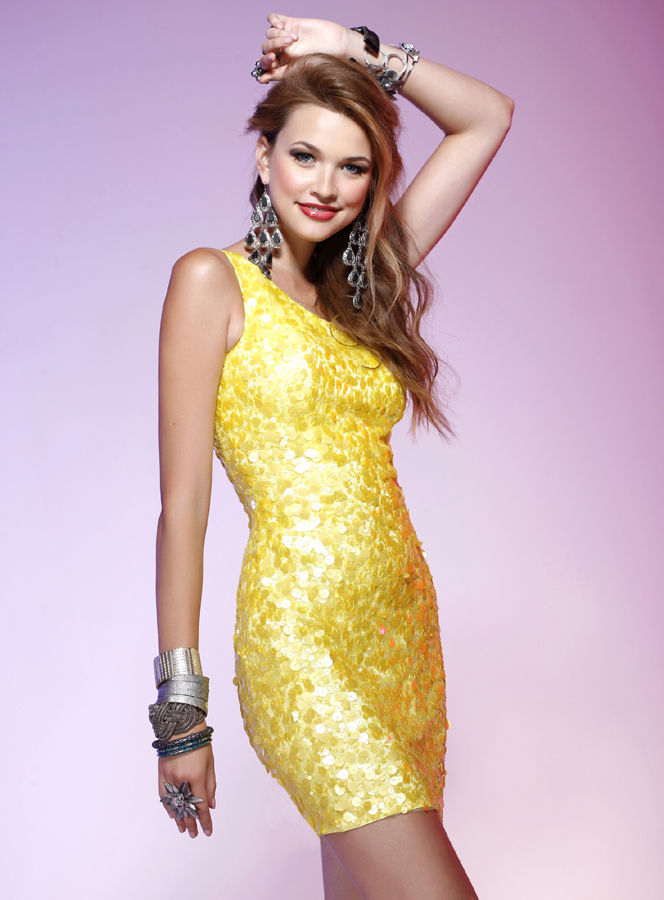 Bright Yellow One Shoulder Sheath Short Prom Dresses With Sequins