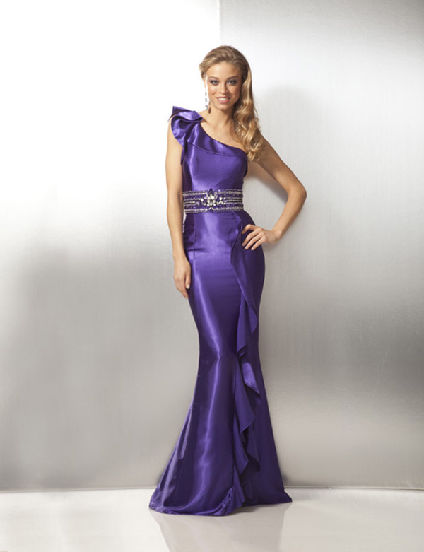 Purple Mermaid One Shoulder Satin Prom Dresses With Beadss And Ruffles