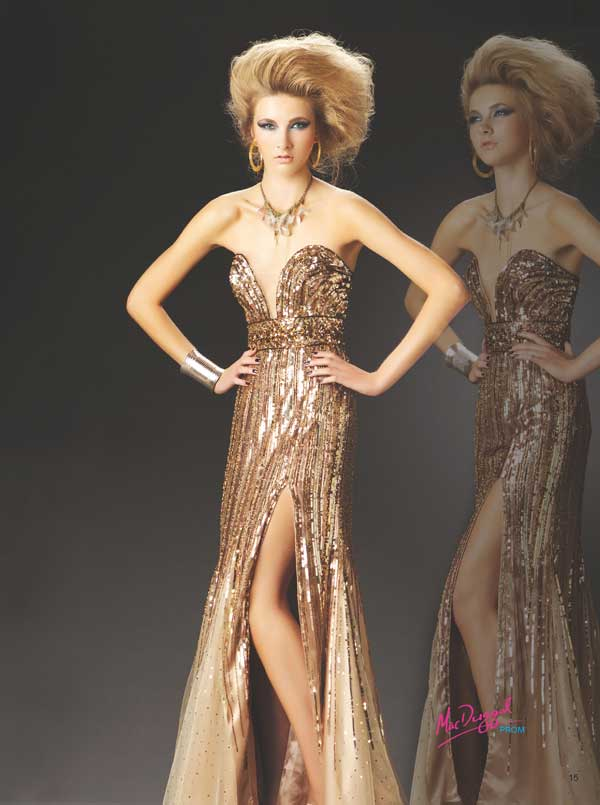 Champagne Strapless V Neck Floor Length Sheath Sequined Prom Dresses With High Slit
