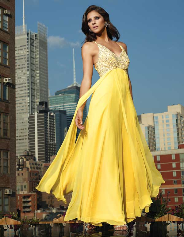 Yellow Sheath Spagetti Straps Floor Length Empire Chiffon Prom Dresses With Beads