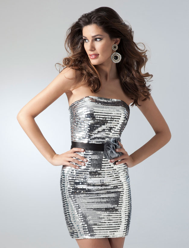 Silver Strapless Neckline Short Length Sequined Homecoming Dresses With Black Sash