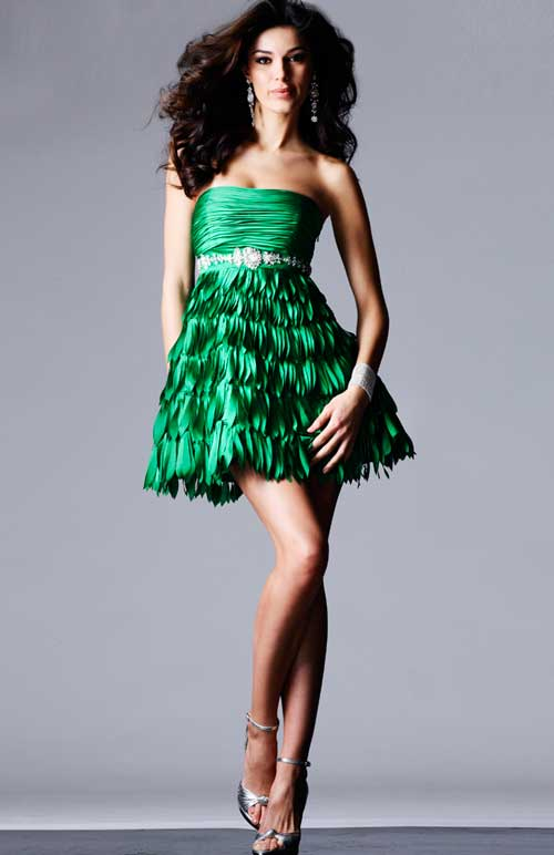 Green Strapless Mini Length Pleated Homecoming Dresses