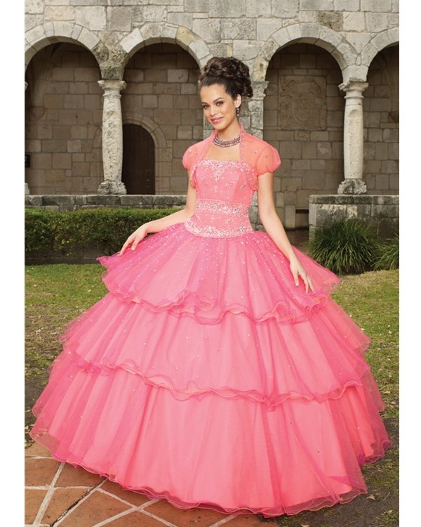 Watermelon Straight Neck Floor Length Ball Gown Tiered Tulle Quinceanera Dresses With Embroidery