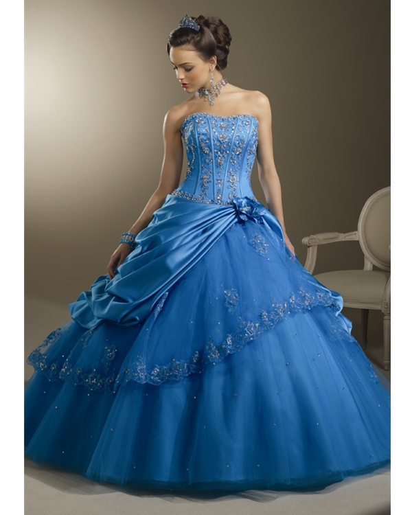 Blue Strapless Ball Gown Floor Length Tulle Quinceanera Dresses With Sequined Appliques