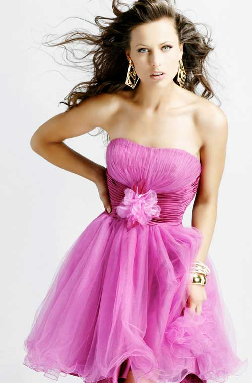 Fuchsia Strapless Empire Short Mini A Line Tulle Prom Dresses With Sash And Flower