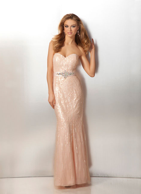 Pearl Pink Strapless Sweetheart Floor Length Column Prom Dresses With Sequins