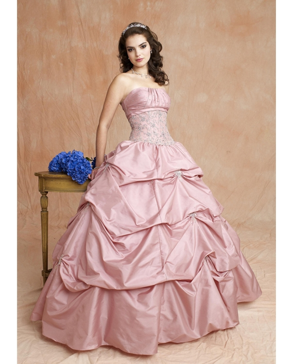 Pearl Pink Strapless Full Length Ball Gown Taffeta Quinceanera Dresses With Beadings And Drapes