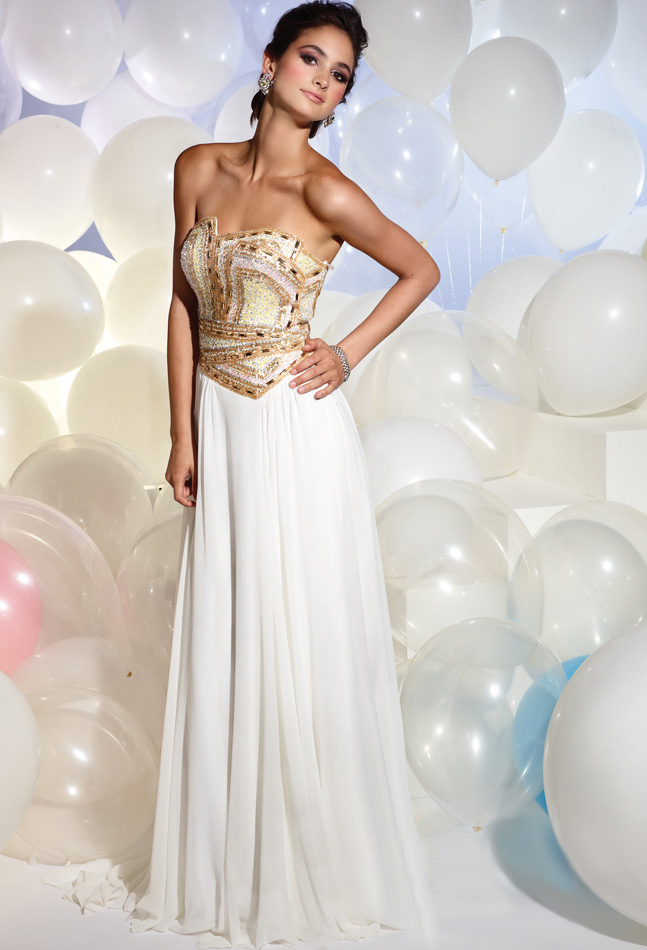White Strapless Glamorous Floor Length Sheath Prom Dresses With Gold Jewel
