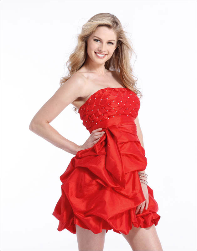 Scarlet Strapless Short Mini Length Prom Dresses With Sequin And Twist Drapes