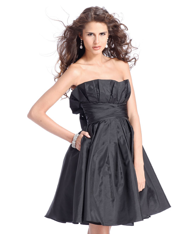 Black Empire Strapless Knee Length Satin Homecoming Dresses