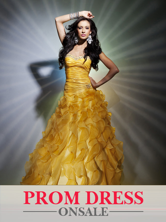 Yellow Strapless Sweetheart A Line Floor Length Organza Prom Dresses With Ruffles
