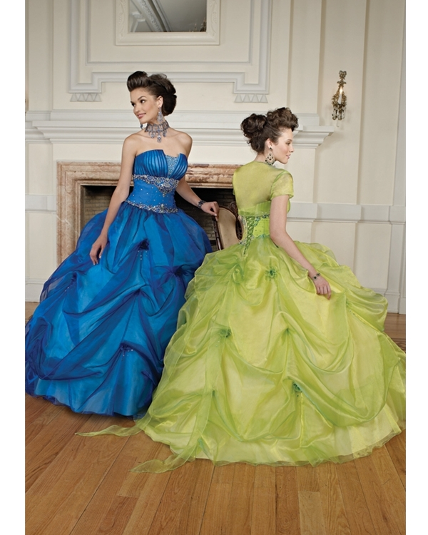 Lime Strapless Ball Gown Floor Length Organza Quinceanera Dresses With Embroidery And Ruffles
