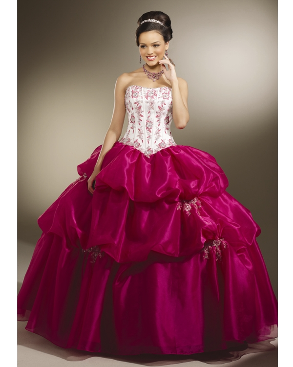 Fluffy White And Magenta Strapless Floor Length Ball Gown Organza Quinceanera Dresses With Ruffles