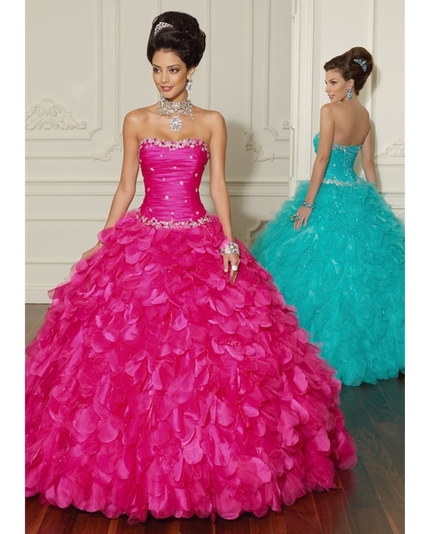 Fuchsia Ball Gown Lace Up Strapless Floor Length Organza Quinceanera Dresses With Ruffles And Beadings