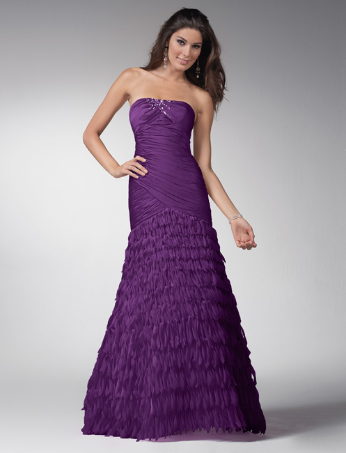 Purple Strapless Floor Length Tiered A Line Prom Dresses With Sequins And Tassels