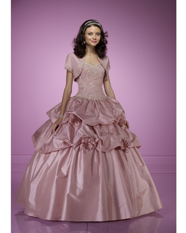 Pearl Pink Strapless Sweetheart Floor Length Ball Gown Quinceanera Dresses With Embroidery And Flowers