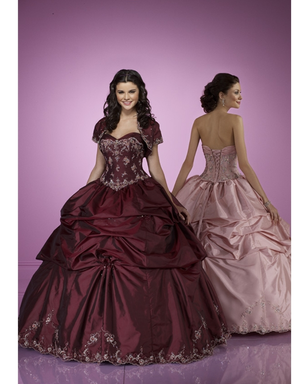 Marroon Ball Gown Strapless Sweetheart Floor Length Taffeta Quinceanera Dresses With Embroidery