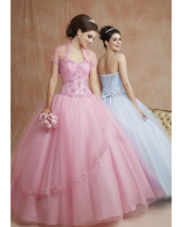 Romantic Pink Ball Gown Strapless Sweetheart Full Length Tulle Quinceanera Dresses With Embroidery