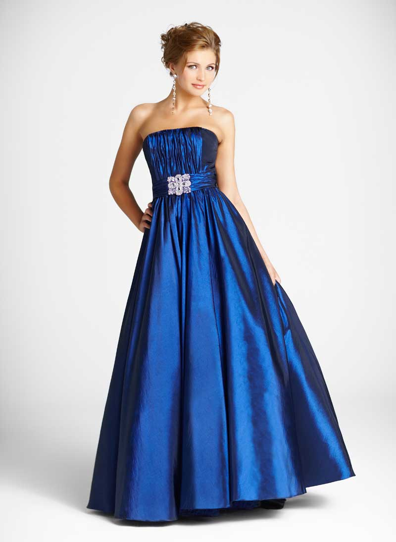 Blue Strapless Floor Length A Line Taffeta Prom Dresses With Jewel And Ruches