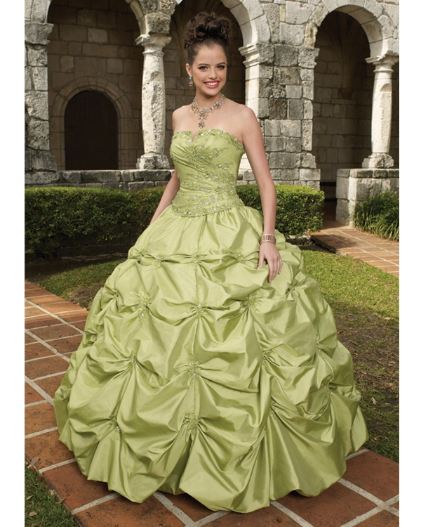 Sage Ball Gown Strapless Draped Floor Length Taffeta Quinceanera Dresses With Embroidery