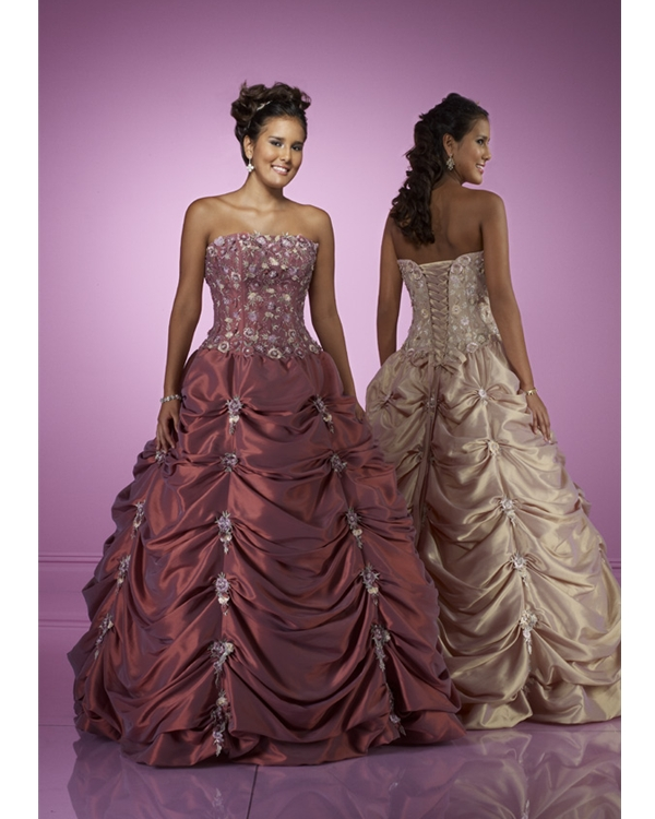 Floor Length Ball Gown Strapless Ivory Taffeta Quinceanera Dresses With Beading Embroidery