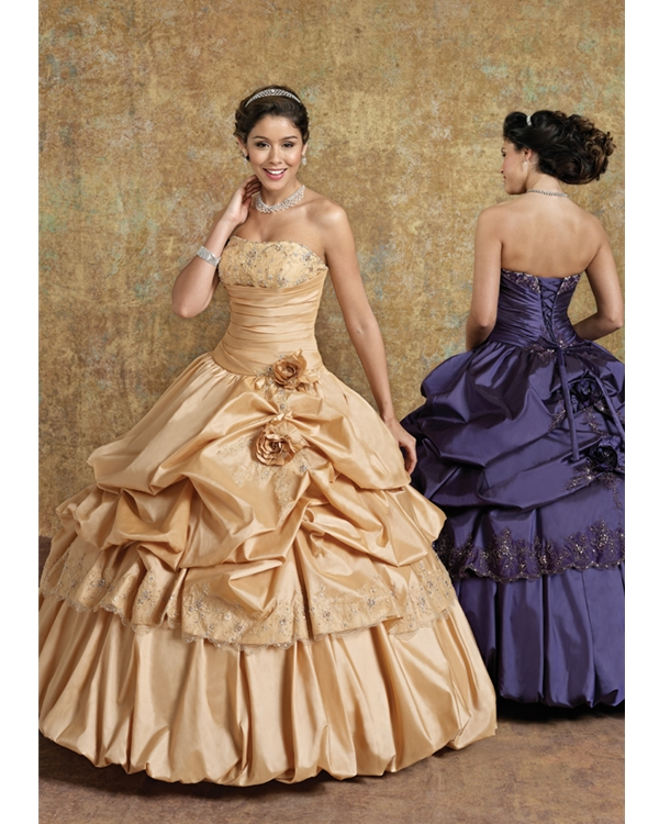 Champagne Ball Gown Floor Length Strapless Taffeta Quinceanera Dresses With Hand Made Flowers