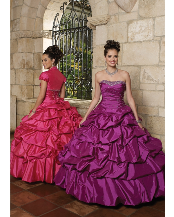 Strapless Purple Floor Length Ball Gown Taffeta Quinceanera Dresses With Ruffles