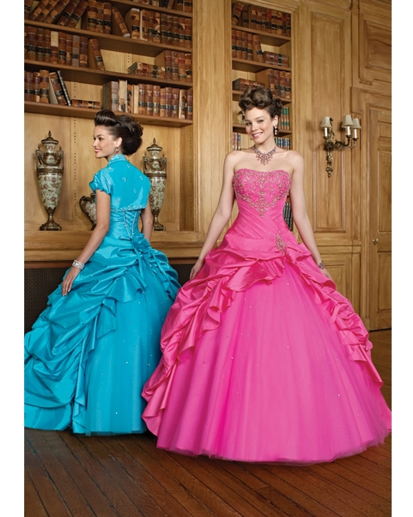 Pink Strapless Floor Length Ball Gown Tulle Quinceanera Dresses With Embroidery And Pleats