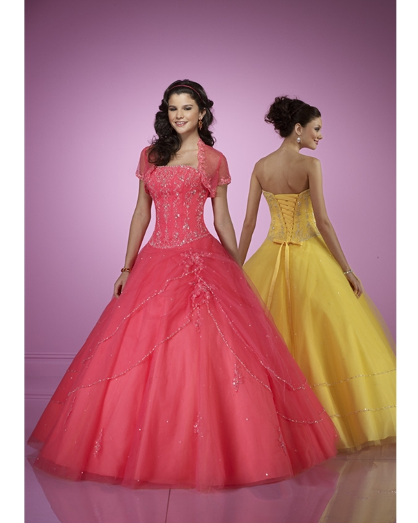 Sweet Watermelon Strapless Floor Length Ball Gown Tulle Quinceanera Dresses With Embroidery
