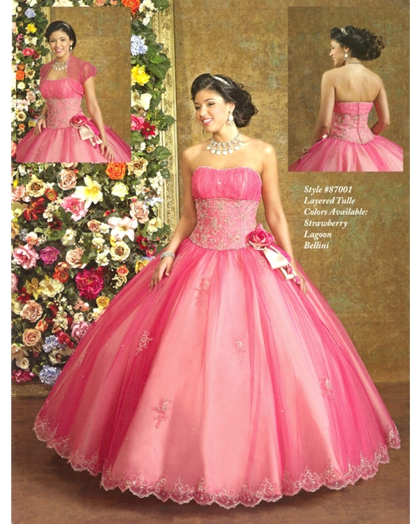 Prosperous Pink Ball Gown Strapless Full Length Tulle Quinceanera Dresses With Lace Appliques