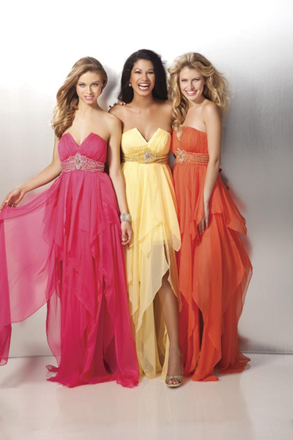 Unique Yellow Strapless Asymmetrical Length Empire Prom Dresses With Sash